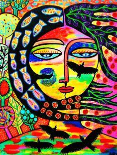 La diosa Cuervo al atardecer SILBERZWEIG ORIGINAL Art PRINT
