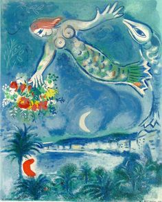 Marc Chagall - Siren and Fish, from: Nice and the Côte d'Azur  Sirène et Poisso | From a unique collection of figurative prints at https://www.1stdibs.com/art/prints-works-on-paper/figurative-prints-works-on-paper/