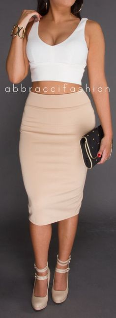 Womans Sexy Khaki Midi Skirt Pencil Stretchy by AbbracciFashion