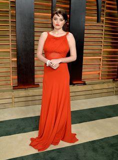 Sky Ferreira Red Dress 2017 Vanity Fair Oscar Party V Neck Prom Dresses