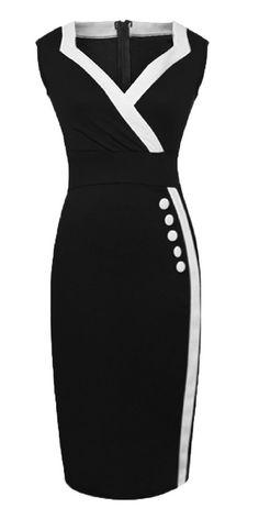 HOMEYEE Women's Casual Button Wiggle Dress U682 at Amazon Women's Clothing store: