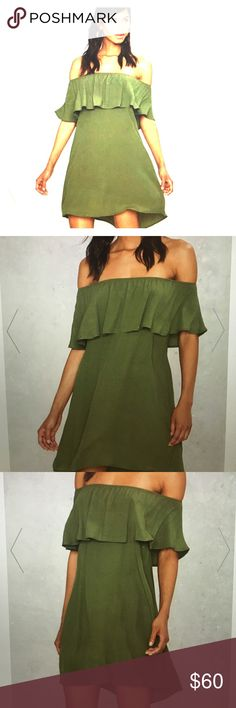 """After Party by Nasty Gal """"forever ruffle dress"""" Olive green! The color of the season Made in olive crepe and off the shoulder, a line silhouette, and ruffle detail!! Unlined. Sold out in this size . Nasty Gal Dresses Mini"""
