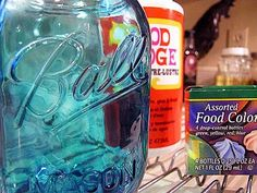 Tinting Mason jars with Mod Podge and food coloring.  Lots of details, from one of my favorite blogs.