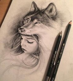 wolf, drawing, and girl image