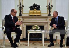 Russian President Vladimir Putin (R) meets with Prince Albert II of Monaco at the Kremlin in Moscow on October 6, 2016. / AFP / POOL AND AFP / Yuri KADOBNOV (Photo credit should read YURI KADOBNOV/AFP/Getty Images)
