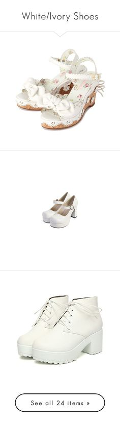 """""""White/Ivory Shoes"""" by roses-lace ❤ liked on Polyvore featuring shoes, sandals, summer shoes, embellished sandals, blossom shoes, laced up shoes, summer footwear, pumps, heels and lolita"""