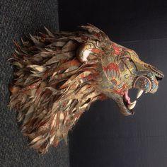 An upholstered faux taxidermie lion head by artist Kelly Rene Jelinek at Little Stag Studio www.littlestagstudio.com