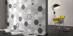 The new Deco Stark range by Decobella features beautiful hexagon tiles in classic light greys, black and white. The patterns on the Deco Stark Decor range easily mix and match with each other and the Deco Stark Plain range to create a stunning design. Wall And Floor Tiles, Wall Tiles, Hexagon Tiles, Decorative Tile, Tile Design, Black And Grey, Range, Curtains, Flooring