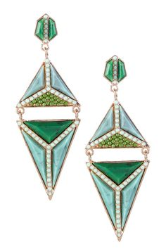 Sea Green Geometric Statement Drop Earrings