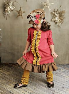Persnickety Pink Lace and Pinecones Collection - Silvia Dress, Gold Ruffle  Leggings, Newsboy Hat, & Irene Headband