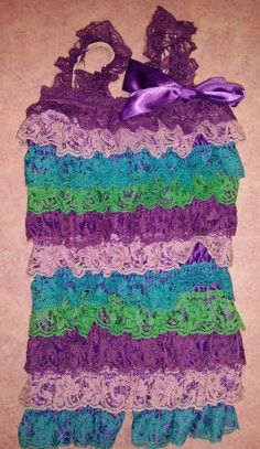 Peacock lace romper!  Purple/Lilac/Blue Romper and Headband Set on Etsy, $19.99
