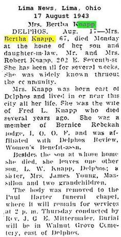 Bertha (White) Knapp Obituary