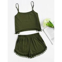 Online shopping for Pom Pom Detail Cami And Shorts Set from a great selection of women's fashion clothing & more at MakeMeChic. Teen Fashion, Korean Fashion, Fashion Outfits, Womens Fashion, Cute Outfits For School, Cute Casual Outfits, Cute Sleepwear, Two Piece Outfit, Spring Outfits