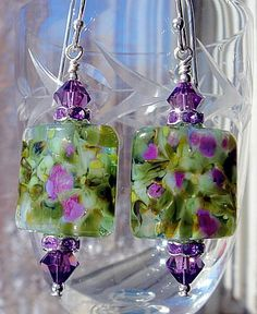 Lampwork Earrings with Amethyst Swarovski Crystals and Sterling Silver