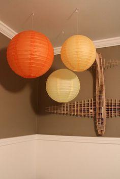 Paper Lanterns & Model Plane in Toddler Room Cute Apartment, Apartment Living, Living Room, Apartment Ideas, Modern Mantle, Chinese Lanterns, Paper Lanterns, Boy Room, Table Lamp