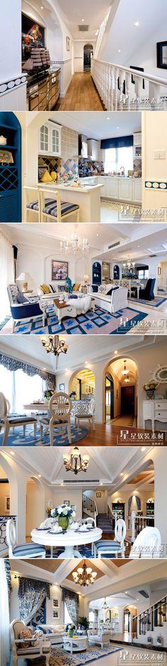 星星软装—地中海风格 别墅复式样板房设计案例 高清实拍图 素材-淘宝网全球站