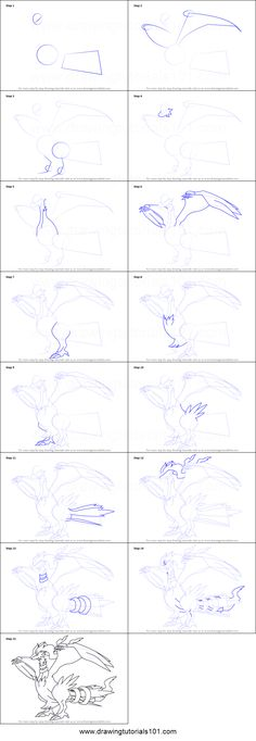 How to Draw Reshiram from Pokemon printable step by step drawing sheet : DrawingTutorials101.com