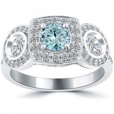1.81 Carat Fancy Blue Diamond Engagement Ring 14k White Gold Vintage Style