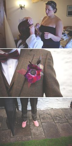 groom bow tie, check suit, image by Amy Lewin Photography