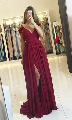 Sexy Prom Dress with High Slit, Prom Dresses For Teens,Graduation Party Dresses