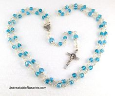 St Benedict Rosary Beads Wire Wrapped In Aqua Blue Czech Glass Come Visit UnbreakableRosaries.com