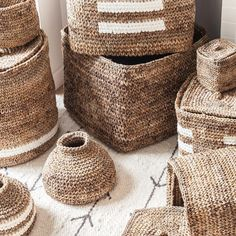 Baskets in all shapes and sizes, each one entirely hand crocheted out of dried banana plants leaves turned into rope// ARTHA Collections Dried Bananas, Banana Plants, Plant Basket, Contemporary Home Decor, Hand Crochet, Basket Weaving, Accent Decor, Straw Bag, Baskets