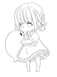 Cute anime girl lineart by chifuyu-san on deviantart anime g Anime Chibi, Kawaii Anime, Lineart Anime, Anime Drawings Sketches, Anime Sketch, Kawaii Drawings, Manga Drawing, Cute Drawings, Wie Zeichnet Man Manga
