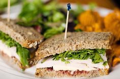 Turkey, arugula, and lingonberry jam sandwich