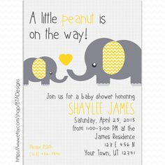 Customizeable Digital Little Peanut Baby Shower Invitation by BTA Designs on Etsy. Elephants Baby Shower, Girl Baby Shower, Boy Baby Shower, Gender Neutral Baby Shower, Yellow and Grey Baby Shower, Yellow and Gray Baby Shower