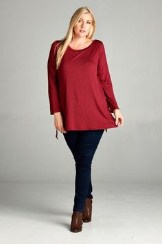 Side Tie-Up Accent Flare Hem Top