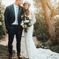 boho modest wedding dress with long sleeves. photo by rebecca johnson