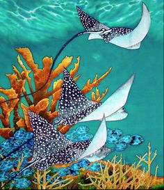 """Under the Bahamian Sea"" - beautiful Original Silk Painting by Daniel Jean-Baptiste of St Lucia."