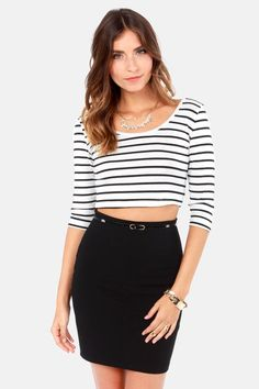 Crop Around Black and White Striped Crop Top at LuLus.com! Cute White Tops 37184bfce