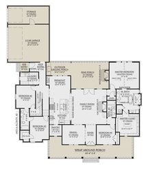 Modern Farmhouse Plan: 2,716 Square Feet, 4 Bedrooms, 3 Bathrooms - 4534-00044
