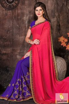Explore more beautiful collection pink color georgette Indian wedding wear designer saree online shopping for wedding and marriage wear. A fashion saree best for college functions. #saree, #designersaree more: http://www.pavitraa.in/store/designer-sarees/