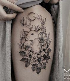 Cute deer and flower tattoo - 85+ Inspiring Deer Tattoo Designs