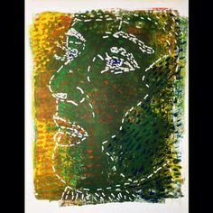 """All broken up"" | Mike Brennan   Acrylic gelli plate print, gouache & watercolor. White paint marker. #art #drawing #painting #printmaking #gelliplate #acrylic #watercolor #gouache #dashedline #line #lineart #white #face #woman #female #green #broken #texture #monotype #relationship #emotion #portrait #marker #paint"