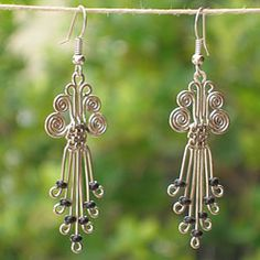 @Overstock.com - Jewelry is crafted of brilliantly colored beads on silver electroplated copper,  Beautiful earrings set you apart as a supporter of opportunity in the slums of Kenya.  Great wire work!