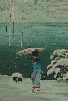 Tsuchiya Koitsu  I've never tried an umbrella in the winter. I love the peaceful solitude of this picture.