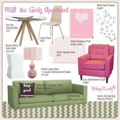 Girly apartment collage First Apartment, Dream Apartment, Apartment Design, Apartment Living, Apartment Ideas, Living Room, Green Furniture, Outdoor Furniture Sets, Cute Room Ideas