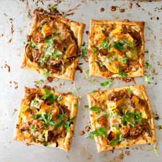 Caramelised onion, leftover cheese and roast vege tarts - Nadia Lim Piri Piri, Big Meals, Quick Meals, Puff Pastry Pizza, Spinach And Feta, Roasted Vegetables, Caramelized Onions, Light Recipes, Vegetable Dishes