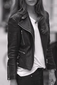 Stylish and Modern, Leather Black Jacket with White T-Shirt and Black Jeans