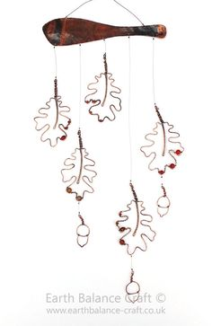 Hanging Mobile Oak Leaves Wire Acorns by EarthBalanceCraft on Etsy