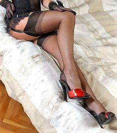 Black Stockings, Nylon Stockings, Thigh High Socks, Thigh Highs, Seductive Dress, Sexy Heels, High Heels, Tights, Skirts