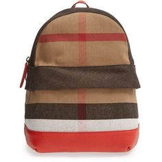 Burberry 'Tiller Check' Backpack featuring polyvore, fashion, bags, backpacks, bright military red, burberry, checkered backpack, zip top bag, knapsack bags and military bag