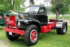 """1955 Mack Truck Model """"These old bitch hags are S&G to spin out bobtail in the snow. Mack Dump Truck, Old Mack Trucks, Big Rig Trucks, Dump Trucks, Cool Trucks, Pickup Trucks, Dodge Trucks, Custom Big Rigs, Custom Trucks"""