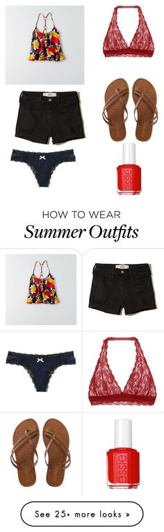 """""""Outfit 2092"""" by that-girl-j on Polyvore featuring American Eagle Outfitters, Cosabella, Hollister Co., Aéropostale and Essie"""