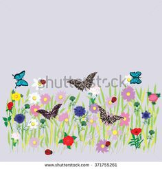 flower field meadow grass bed multicolor flower wheat grass daisy peony rose cornflower wildflowers butterfly ladybugs spring-summer decor isolated on a light background vector - stock vector