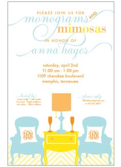@Lauren Godfrey this has you written all over it... Monograms and mimosas shower invitation