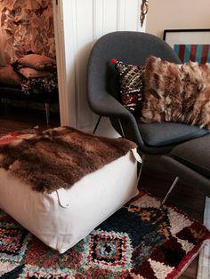 Recycled furs, Boucherouite rug , vintage Kilim Cushion... Now on www.facebook.com/hobosociety . Soon available on www.hobosociety.com #fashion #ethnic #ethic #gold #silver #wood #design